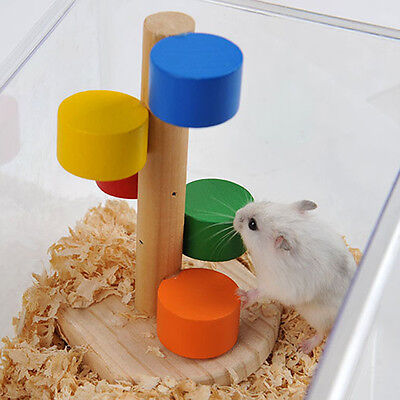 Wooden Ladder Cage Exercise Toy Hamster Hedgehog Mouse Rat Guinea Pig New #A