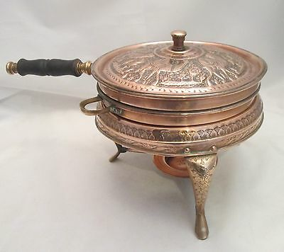 Very Large Arabic Copper Chaffing Dish / Warming Dish on Stand by Nader