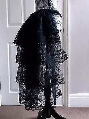 Halloween long black bustle skirt moulin burlesque steam punk tutu lace 28 ins