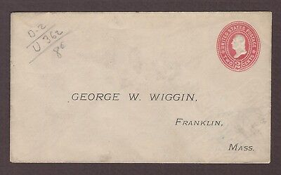 mjstampshobby 1899 US Famous George W Wiggin Vintage Cover Unused (Lot4799)