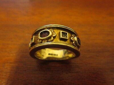 Antique 9 Ct Gold Wide Band Tudor Style Multi Stoned Ring 6 grams UK K US 5.5