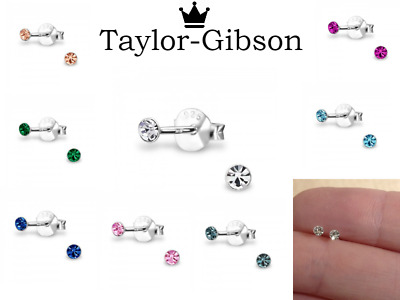 925 sterling silver round studs 2.5mm earrings crystal cute small girls ladies