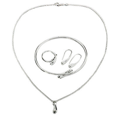 Fashion solid Silver Plated Sets Necklace bracelet Earrings ring + gift box R4B4