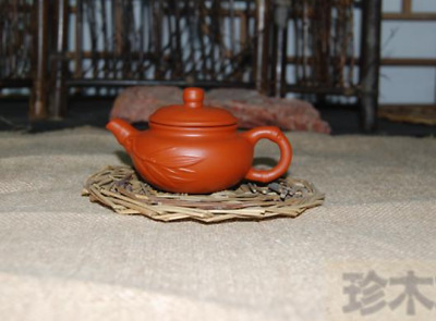 70Ml Exquisite Chinese Yixing Purple Sand Handwork Red Mini Bamboo Teapot Tq1168