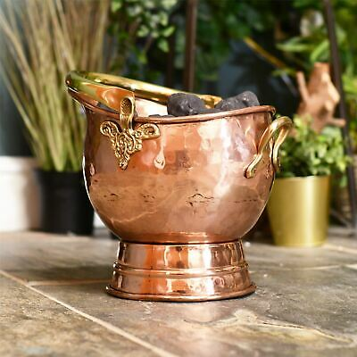 Large Size Polished Copper Victorian Fireside Coal Bucket