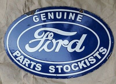 """FORD PARTS STOCKISTS  Enamel Sign SIZE 24"""" X 16"""" INCHES  2 SIDED"""