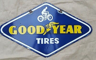 """GOOD YEAR TIRES   Enamel Sign SIZE 18"""" X 30"""" INCHES  DOUBLE  SIDED"""