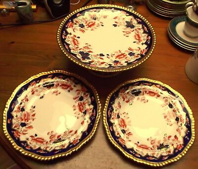 COPELAND SPODE ANTIQUE IMARI JAPANESE TAZZA + 2 Plate (1 is a/f) GILDING