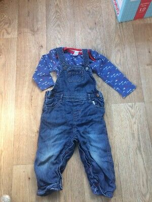 Boys dungarees and long sleeve vest set by Miniclub at Boots 9-12 months