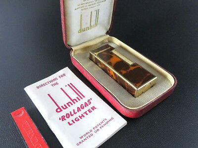 Dunhill Vintage Rollagas Lighter Brown Marble Lacquer & Gold with Box [612]