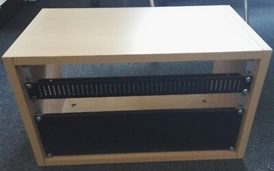 6U rack in beech laminated wood, plus blanking plates