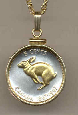 Canada 5 Cent Rabbit Coin Pendant Gold on Silver + Necklace Mans Christmas Gift