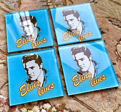 Collectable Pack of 4 Elvis Presley Official Merchandise Glass Drink Coasters