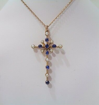 Antique Sapphire and Seed Pearl Cross and Chain in 9ct Gold