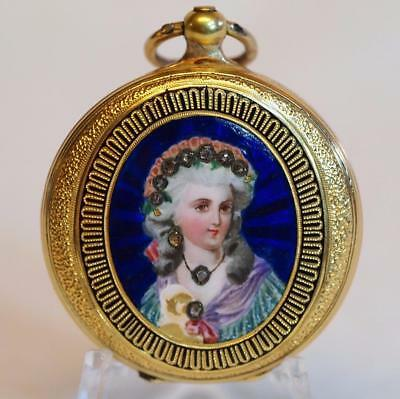 1890s Geneve 18K Gold Ladies Pocket Watch w/ Key & Original Box NOT Running