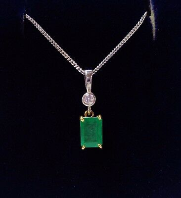 Emerald and Diamond Pendant with Chain in 18ct White Gold