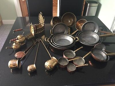 Collection of Decorative Copper/Brass Cookware. Frying pans, measures etc
