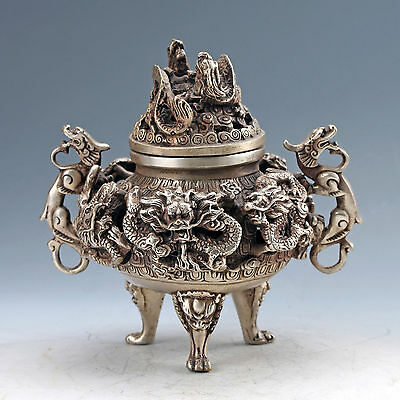 Collectible Chinese Silver Copper Handmade Dragon Incense Burner