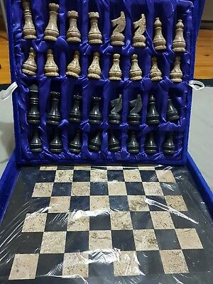 """Beautiful Handcrafted Marble Chess Board Set. Size 15"""" x 15"""" New with box"""