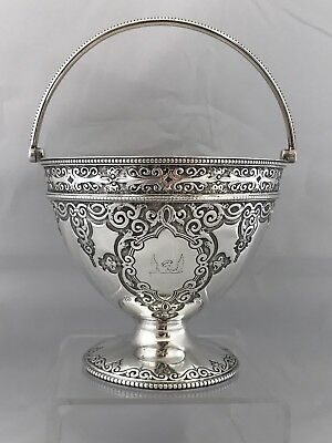 Victorian Crested Silver Swing Handled Bowl 1869 Birmingham Martin & Hall
