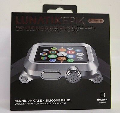 NEW LUNATIK Silver Aluminum & Black Silicone Band for Apple Watch Series 1 42mm