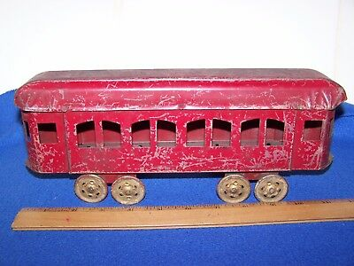 "Antique Tin Pressed Steel Trolley Streetcar On Wheels Pull Toy Used 11 1/2"" L"