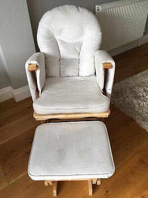 Supremo Bambino White Nursing Glider Rocking Chair with Stool in Natural Wood