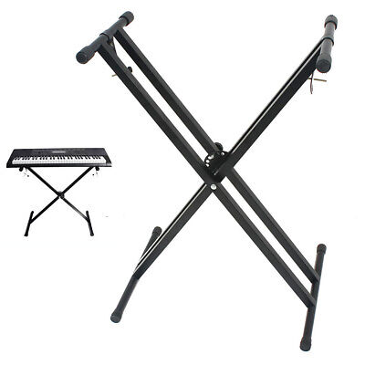 Folding Piano Braced Music Keyboard Stand Adjustable Height X-style Non-slip NEW