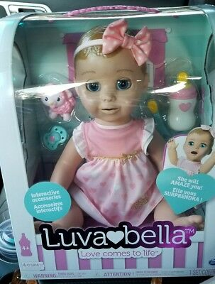 Luvabella Responsive Baby Doll Blonde Speaks English& Spanish *NEW* Interactive!