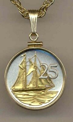 Cayman Islands 25 Cent Sail Boat Coin Gold on Silver w/ Chain Necklace + Box