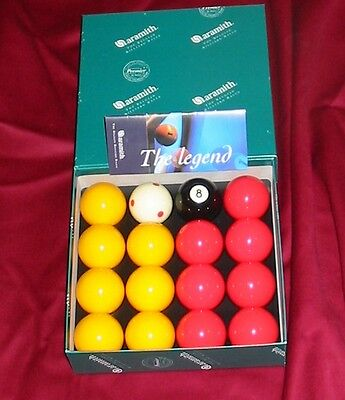 """Aramith Premier Tournament 2"""" Red & Yellow Pool Balls Pro Cup Addition Brand New"""