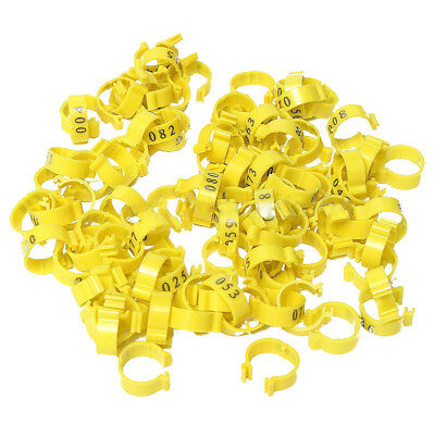 100Pcs 001-100 Numbered Leg Bands 18mm Rings for Clip On Poultry Hens Chick O7C2