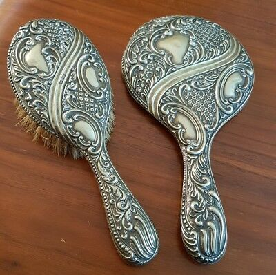Vintage Ornate Silver Plated  Hand Mirror & Brush  epns