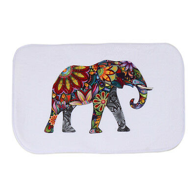 Colorful elephant Style Water-absorb Floor Bath Mat Toilet Room Coral velve B7I8