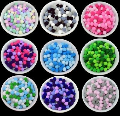 Craft Pom Poms Balls Mix Colours 10mm - Card Making Crafts, Pompom Great Quality