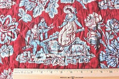 Antique 18thC French Quilted Cotton Toile de Jouy Scenic Hand Blocked Fabric