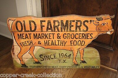 LARGE COW Meat Market Groceries Butcher SIGN*Primitive/French Country Kitchen