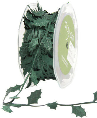 "Cutout Satin Ribbon 7/8"" To 1 1/8""X15yd Green Holly Leaves EX15-45"