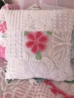 Vintage Chenille Patchwork Pillow Cover All Cotton White and Pink 16 x 16