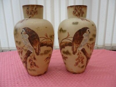 ANTIQUE c1880 PAIR (2) VICTORIAN MILK OPALINE GLASS VASES WITH HAND PAINTED OWLS