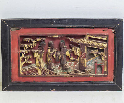 "Antique Chinese Asian Carved Wood Panel Red And Gold Gilded 11.5"" X 7"""