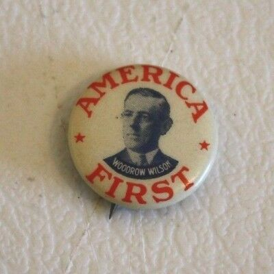 Vintage President Woodrow Wilson Political Campaign Pin Pinback Button