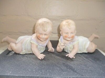 Pair Of Heaubach Bisque Piano Babies