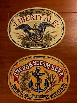 Liberty Ale and Anchor Steam Beer Lot Of Two Tin Beer Signs San  man cave home b