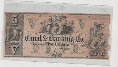 $5 Canal & Banking Company New Orleans 1850s CU Remainder Banknote