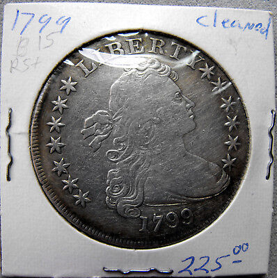 1799 Fine Draped Bust Silver Dollar- Cleaned - No Reserve