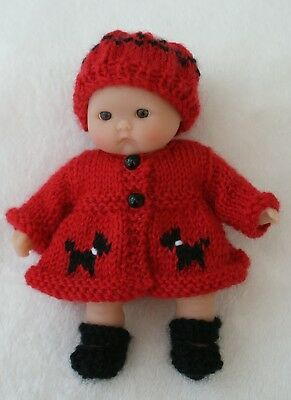 "Hand Knitted Dolls Clothes To Fit a 5"" Berenguer or Similar Doll"