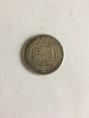 1823 George IV Silver Shilling Coin - Scarce Date - Great Britain