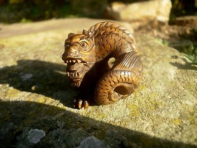 Carved wood Netsuke Dragon curled up, vintage / antique style mythical figure