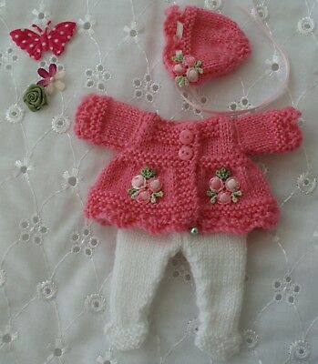 "Hand Knitted Dolls Clothes To Fit a 6"" Berenguer or Similar Doll"